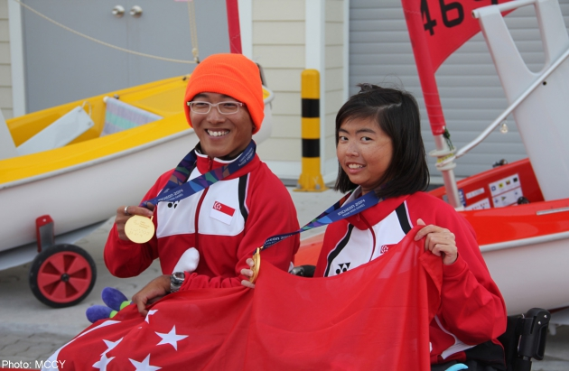 Three-time Paralympian Jovin Tan and relative newcomer Yap Qian Yin won seven of nine races. seven of nine races. PHOTO COURTESY OF MINISTRY OF CULTURE, COMMUNITY AND YOUTH